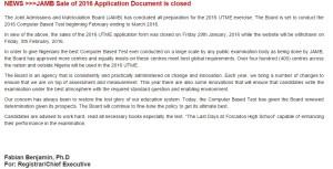 Jamb 2016 Registration Closed
